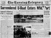 Front page of the St. John's Evening Telegram, Monday, May 14, 1945