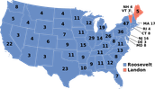 Map of States Won in 1936 Election