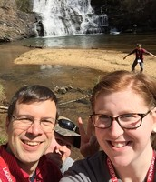 Zack and Rachel (and Maddie) enjoying the Glisson Falls