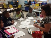 Small group math in Mrs. Patrick's class.