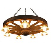 Large Wagon Wheel Chandelier with 7 Down Lights