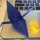 Each child was given an origami frog and crane.