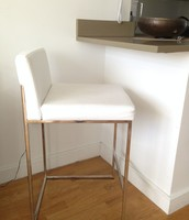 White Leather Barstool by Calligaris