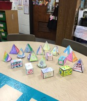 Look at our colorful birdhouses!  This is the result of our Real World Experience for the Measurement Unit.
