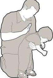 IF A CHILD IS CHOKING, ALTERNATE BACK BLOWS AND ABDOMINAL THRUSTS