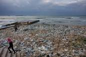 Trash on beach.