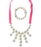 Girls' Olive pearl bib Necklace & bracelet set