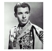 Audie Murphy with some of his medals