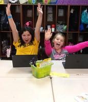 Aubrey and Arianna playing math games on Chrome books!