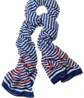 SOLD - Palm Springs Scarf - Navy Stripe Elephant