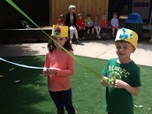 Holiding our maypole ribbons.