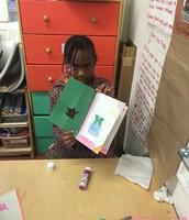 Creating art inside a beautiful book made the week before.