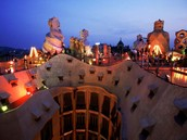 The rooftop of Barcelona's Casa Milà exhibits the eclectic style of Spanish architect Antoni Gaudí.