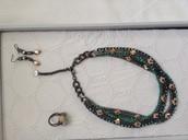Mercury , Kahlo linear earrings, Soiree trio ring