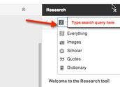 Research tool will open on the right side of your document.