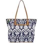 Navy and White ikat tote