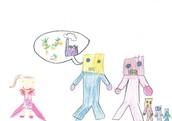 """Una familia de robots le  dijeron """"Jessica cuida tu planeta"""".   Nuestro planeta tenía corazón y lo perdió."""