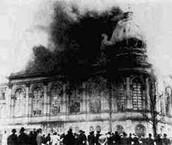 burning synagog