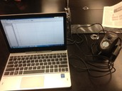 computer and the set up for the colorimeter