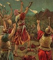 גדעון וצבאו מפחידים את מדין בעזרת שופרותיהם וכדיהם.