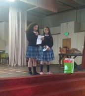 Iris & Jasmine representing the fourth grade; saying nice things at the Teacher Appreciation Assembly