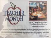 And the Titan September Teacher of the Month is...