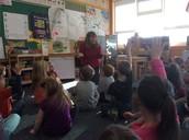 "Kindergarteners work with Mrs. Pratt on a new reading strategy this week ""Eagle Eye!"""
