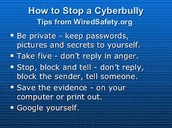 Reporting a cyberbully