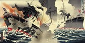 A Japanese warship defeating a Russian warship in the Russo-Japanese war