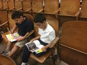 Students Reading in the morning