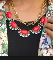 Mae necklace - red