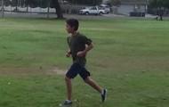 Derek preparing for his mile test!