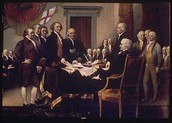 Him signing the declaration