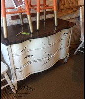 $345 - White & Tiger Oak Serpentine Dresser