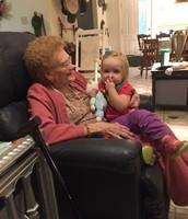 Admiring little great grandaughter Elise Emsoff