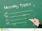 Principal's Meeting Topics