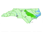Where is the river basin located in North Carolina (Headwaters & Mouth) ?