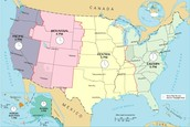 This picture shows the time zones of the United States.