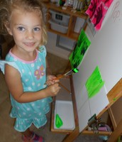 Sydney chose bright green for her background