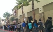 The line is insane for a cake!