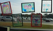 Stained glass windows created by Mrs. Debords' students