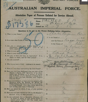 Australian Imperial Forces Certificate