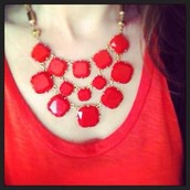 Olivia Bib Necklace (orange)