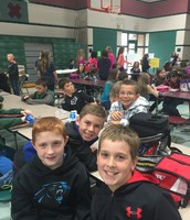 My 4th grade son Brendan having lunch with Oaktree 4th graders Caleb, Andrew, and Dylan on Take Your Child to Work Day.