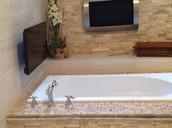 A  oversized Jacuzzi tub