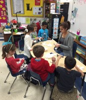 Snowflake making for mural with Miss Rebeca