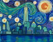 "Spend Friday night with Wine & Design, Milltown when we paint the beautiful ""Starry Night Freedom Tower"". Significance and beauty in this one.  Pretty enough to display in your home."