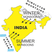 A map of India , shows winter and summer Monsoons