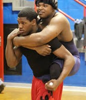 Leroy and Dartanyon before a Wrestling Match