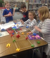 1st grade creatively building structures!